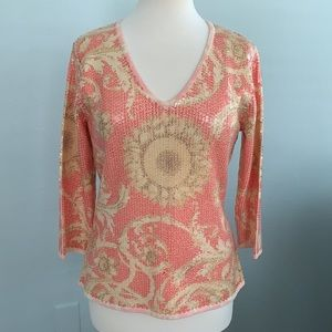 J. McLaughlin Corali Sequin Sunflower Top szL EUC